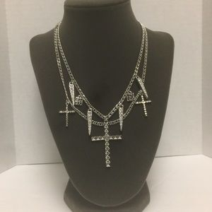 Givenchy Layered Cross Spike Charm Necklace